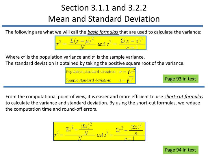 Section 3 1 1 and 3 2 2 mean and standard deviation