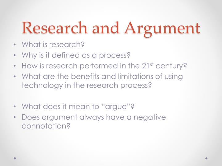 Research and Argument