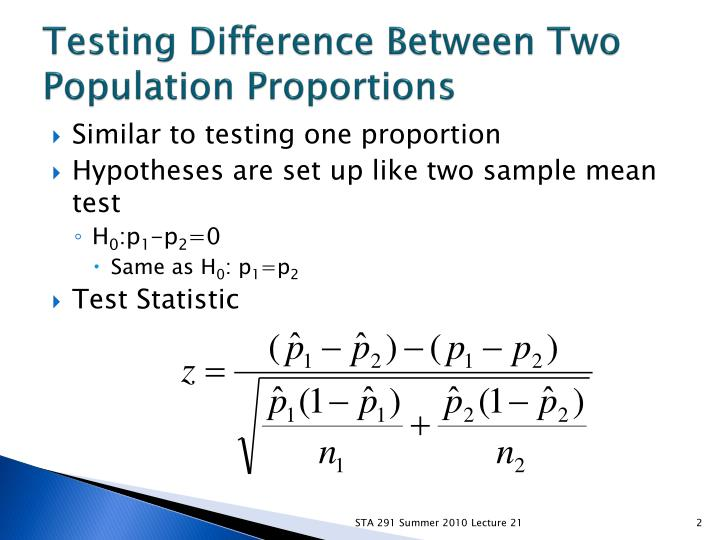 Testing difference between two population proportions