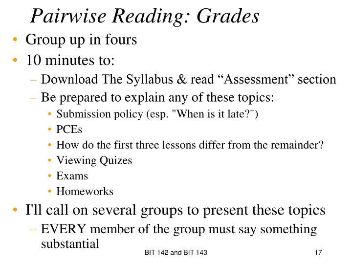 Pairwise Reading: Grades