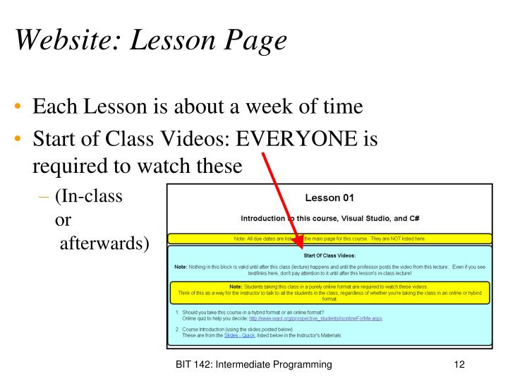 Website: Lesson Page