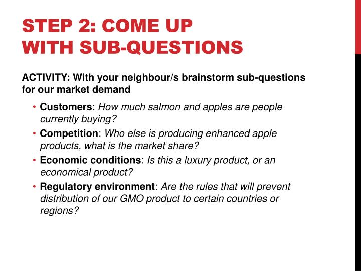 Step 2: Come up with sub-questions