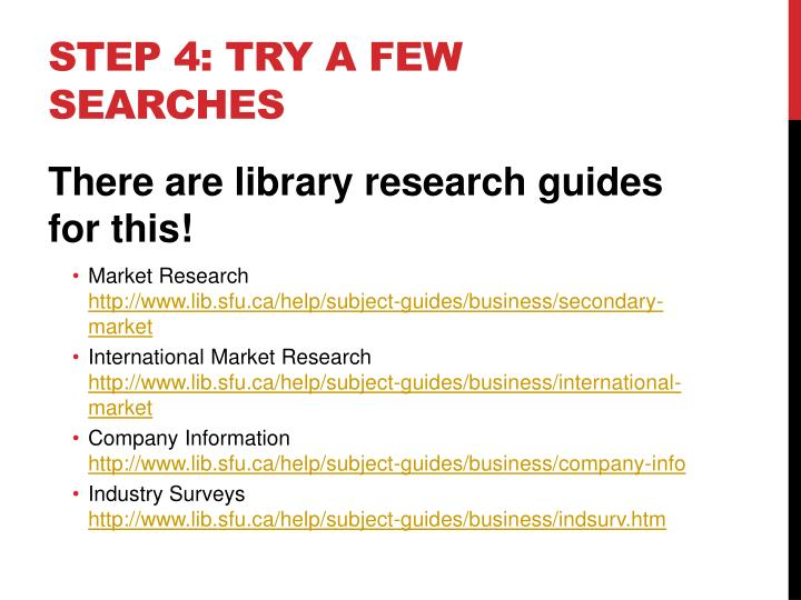 Step 4: Try a few searches
