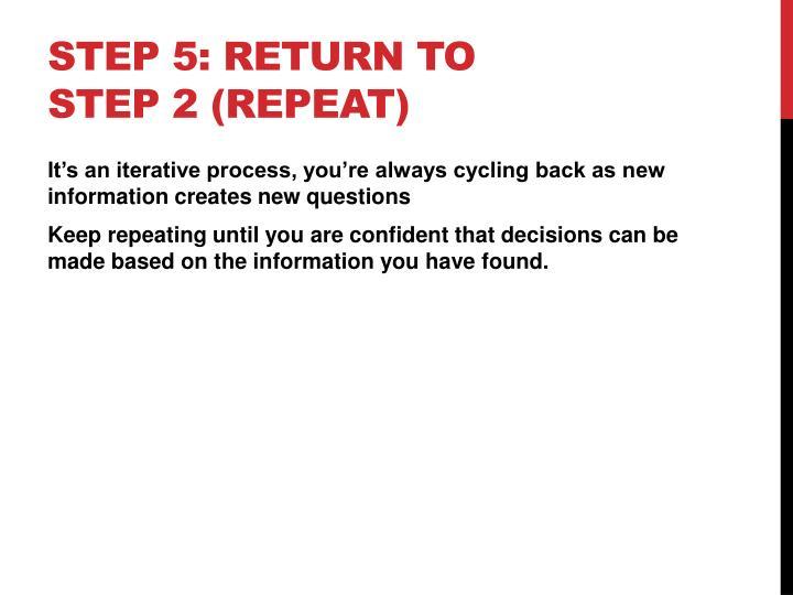 Step 5: Return to step 2 (repeat)