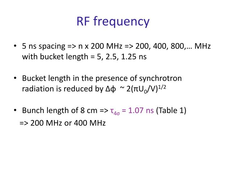 RF frequency