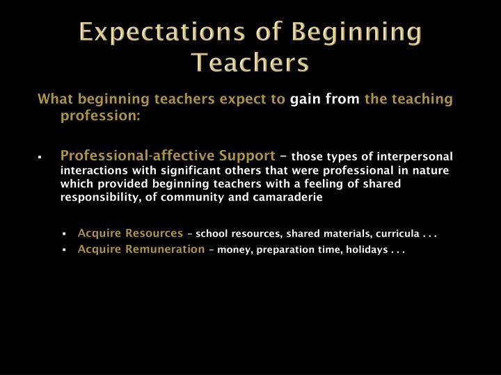 Expectations of Beginning Teachers