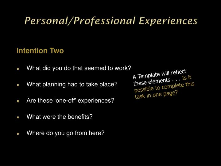 Personal/Professional Experiences