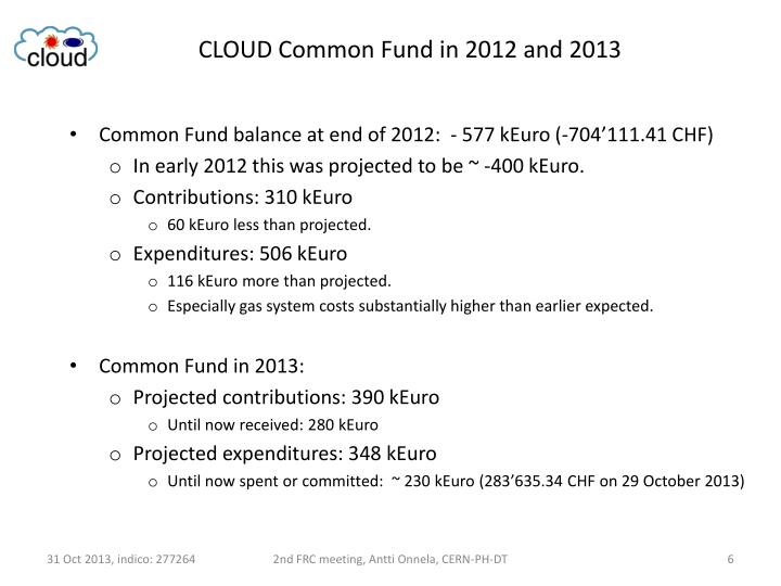CLOUD Common Fund in 2012 and 2013