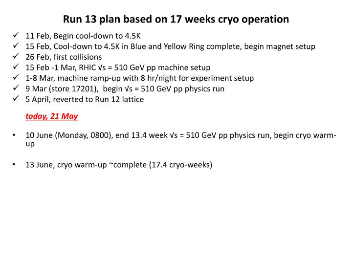 Run 13 p lan based on 17 weeks cryo operation