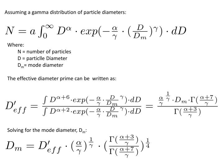 Assuming a gamma distribution of particle diameters: