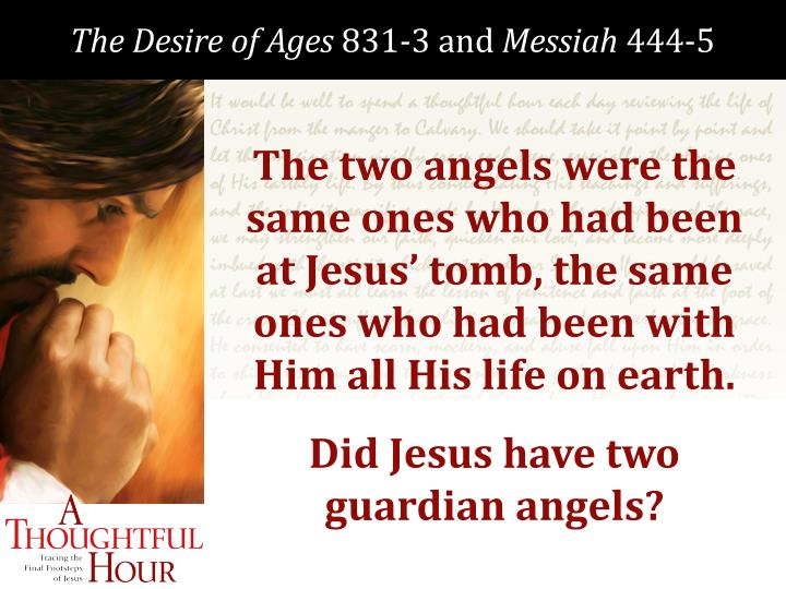 The two angels were the same ones who had been at Jesus' tomb, the same ones who had been with Him all His life on earth.