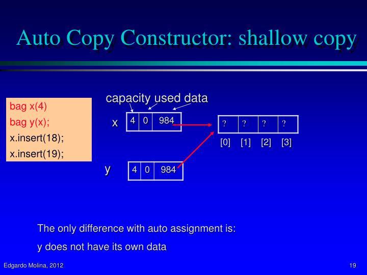 Auto Copy Constructor: shallow copy