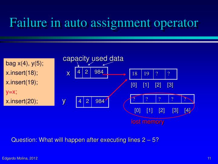 Failure in auto assignment operator