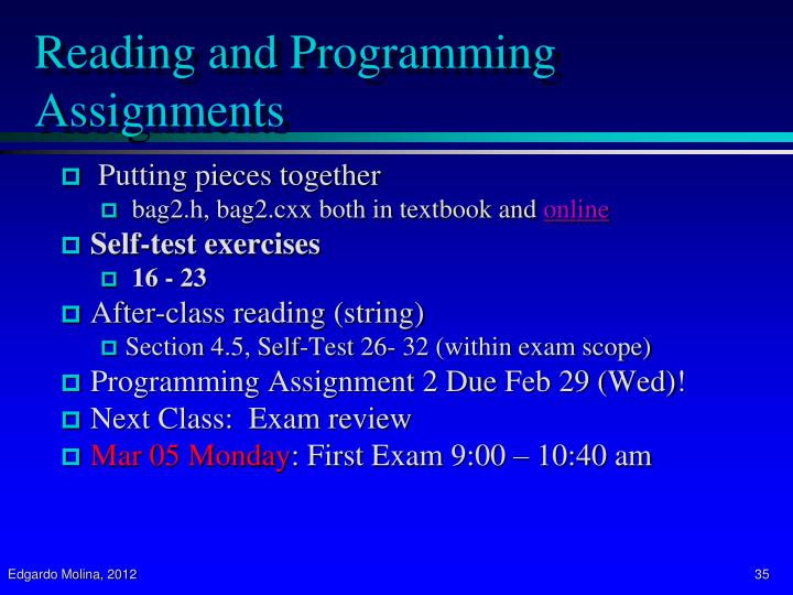 Reading and Programming Assignments