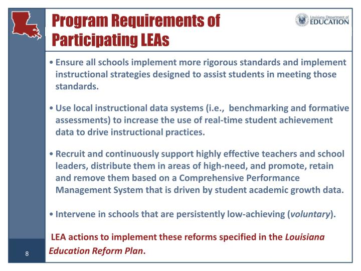 Program Requirements of  Participating