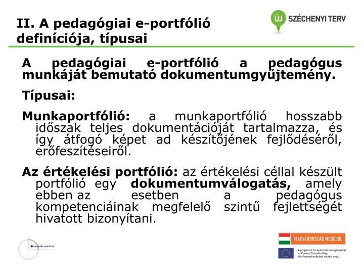 II. A pedagógiai e-portfólió
