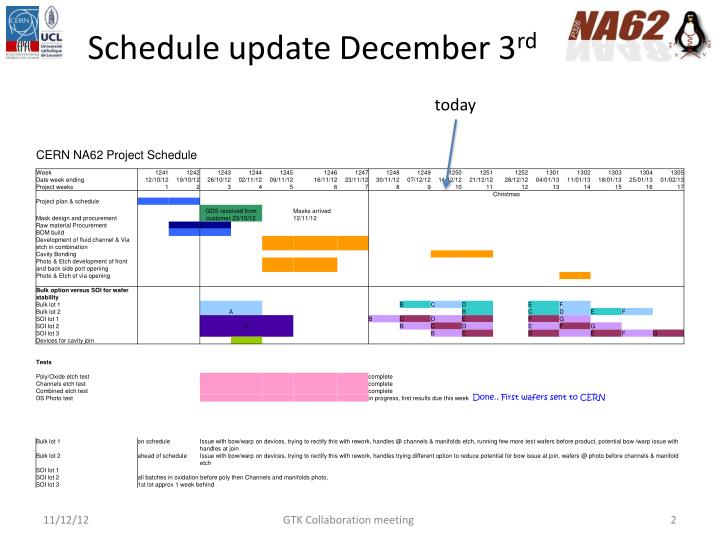 Schedule update December 3