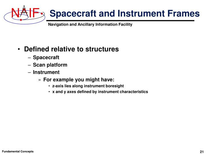 Spacecraft and Instrument Frames