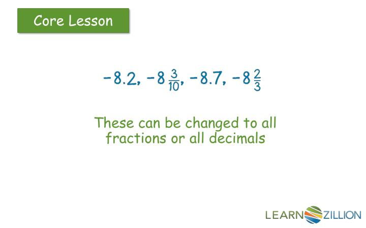 These can be changed to all fractions or all decimals