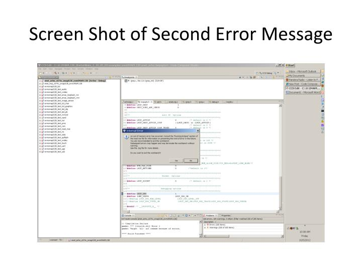 Screen Shot of Second Error Message