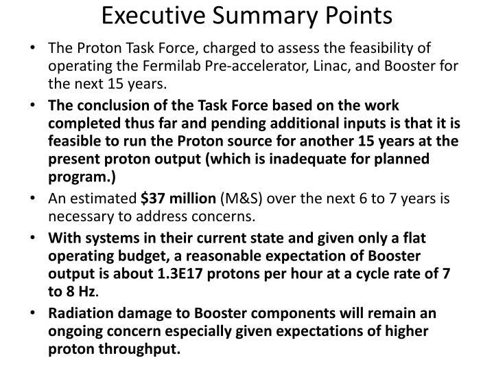 Executive Summary Points