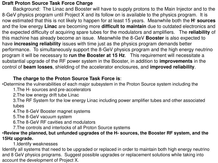 Draft Proton Source Task Force Charge
