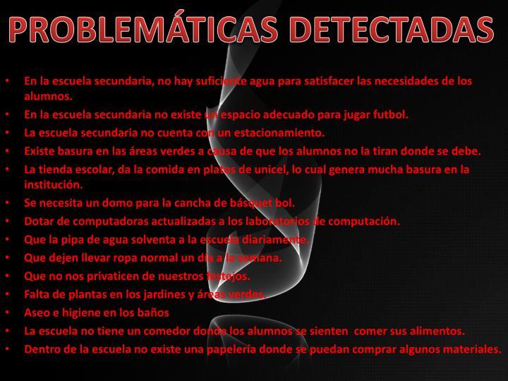 PROBLEMÁTICAS DETECTADAS
