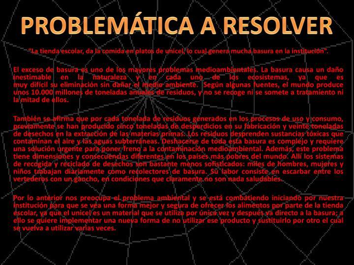 PROBLEMÁTICA A RESOLVER