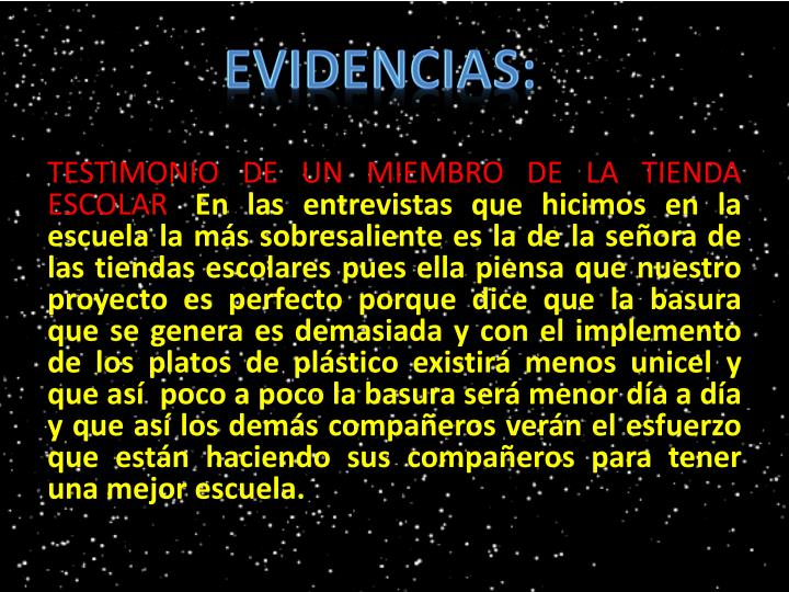 EVIDENCIAS: