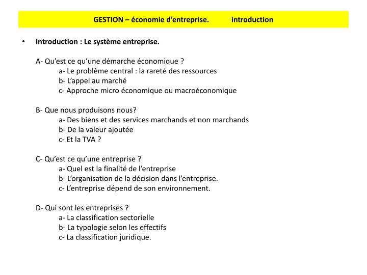 GESTION – économie d'entreprise.            introduction