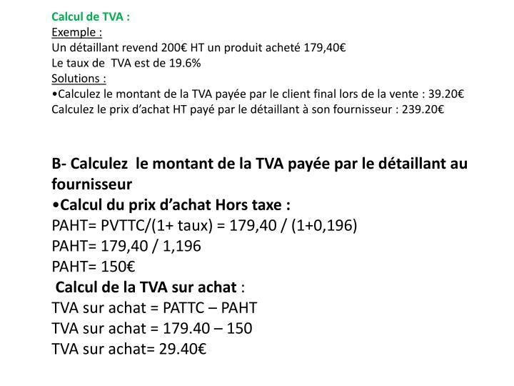 Calcul de TVA: