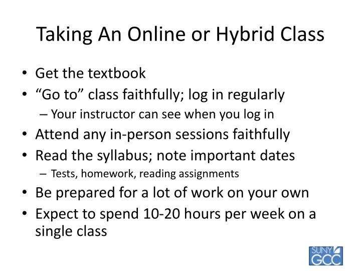 Taking An Online or Hybrid Class