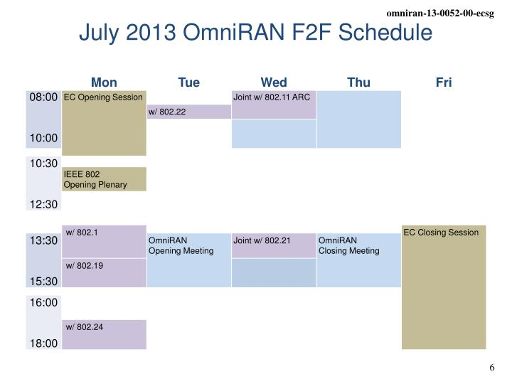 July 2013 OmniRAN F2F Schedule