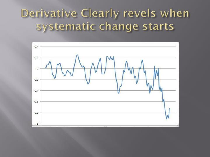 Derivative Clearly revels when systematic change starts