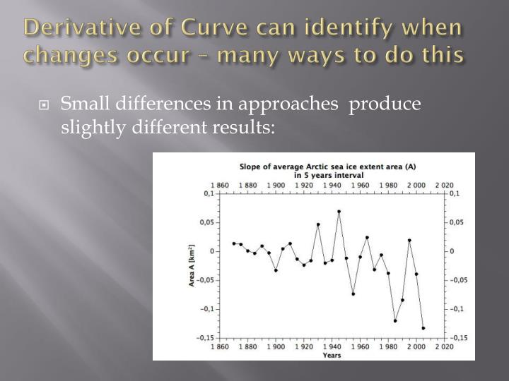 Derivative of Curve can identify when changes occur – many ways to do this
