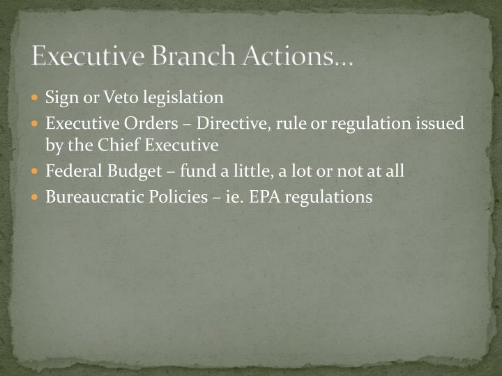 Executive Branch Actions…