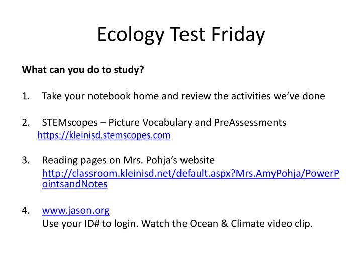 Ecology test friday