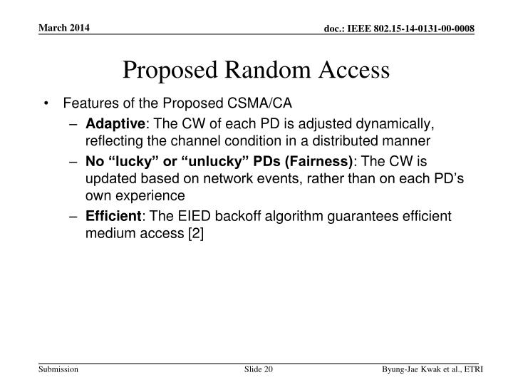 Proposed Random Access