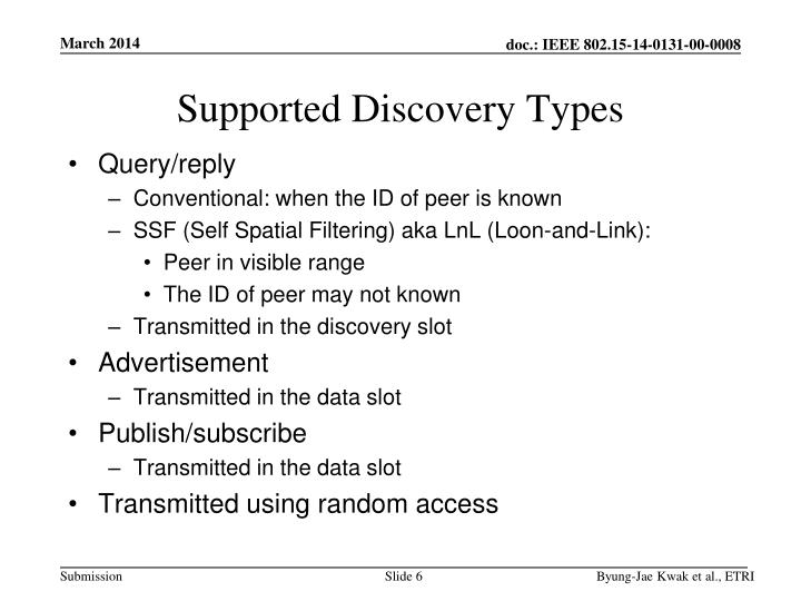 Supported Discovery Types