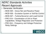 nerc standards activities recent approvals