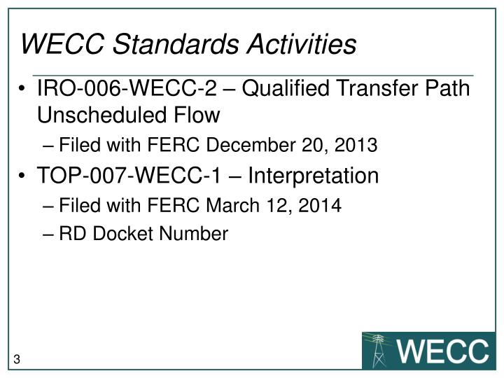 Wecc standards activities1