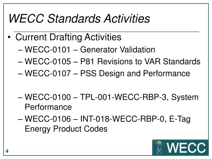 WECC Standards Activities