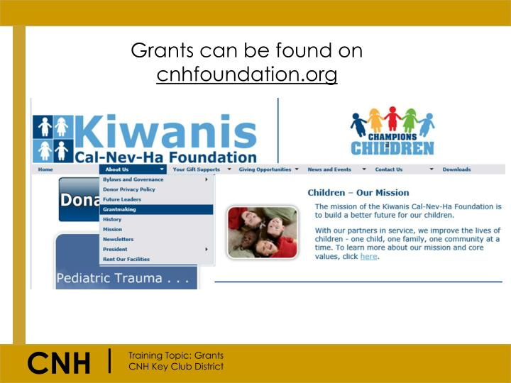 Grants can be found on