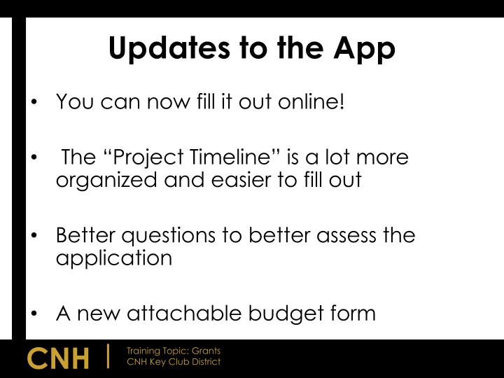 Updates to the App