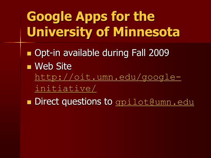 Google Apps for the University of Minnesota