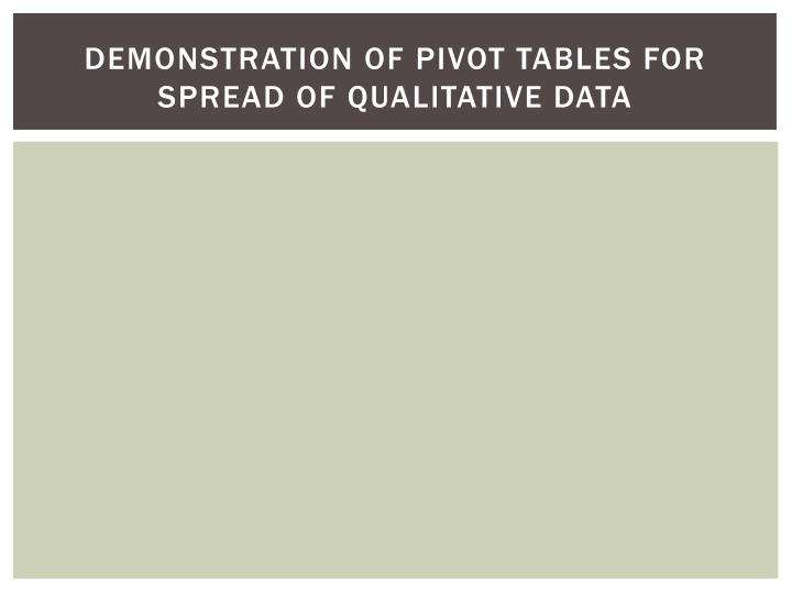 Demonstration of Pivot Tables for Spread of Qualitative Data