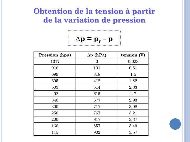Obtention de la tension à partir de la variation de pression