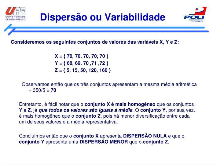 Dispersão ou Variabilidade