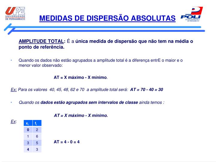 MEDIDAS DE DISPERSÃO