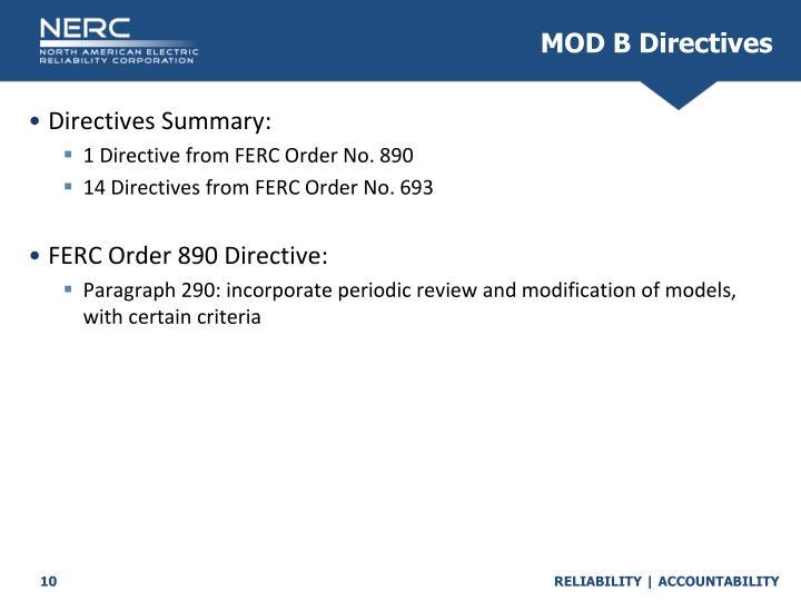 MOD B Directives
